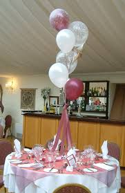 Interior Design, Interior White Maroon Balloons With Pink Ribbon Placed On  The Middle Round Table