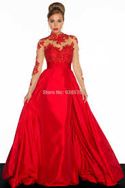 ball gown for plus size 2014 new colors satin high neck a line long sleeve prom dresses plus