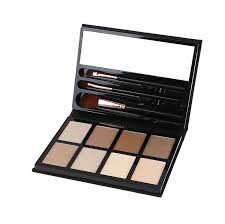 dirty cosmetics contour and highlighter makeup kit with 3 free brushes 8 color