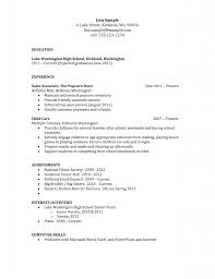 Resume Templatesh School Students No Experience Sample Doc