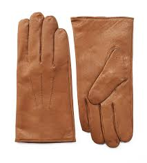 men s aniline leather gloves three point cognac tan