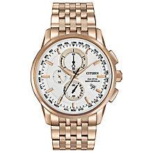 citizen watches ernest jones citizen world chronograph men s rose gold plated watch product number 3577910