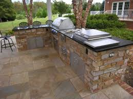 Granite For Outdoor Kitchen Nice Stoned Outdoor Kitchen With Black Granite Countertop Plus