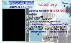 Drivers Photoshop Template Missouri License