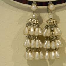 faux pearl drop earrings chandelier style vintage clips hong