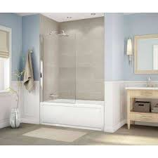 frameless fixed tub door in chrome