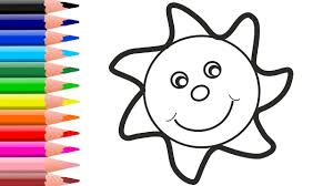 how to draw sun and coloring colouring book for kids with colored markers