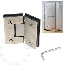 304 stainless steel frameless glass to shower door hinge chrome plated bracket for