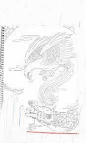 テスト対策に下手ですが龍や鳳凰の絵を描いてみた 中学生 美術作品