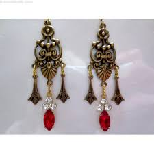 art nouveau red crystal drop earrings art deco earrings edwardian victorian ruby red chandelier crystal earrings 1920s vintage style earring