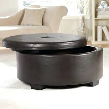 round storage coffee table sophisticated brown leather