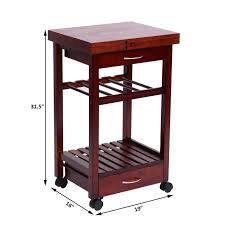 picture of 19 rolling wooden storage cart kitchen trolley with drawers and wine