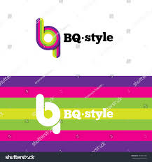 B and Q letters logotype with stripes