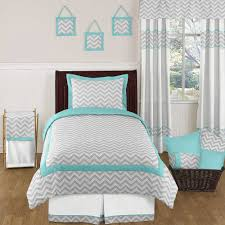 Interesting Target Bedspreads ZigZag Turquoise And White Colors With Long  White Curtains And Minimalist Window Also