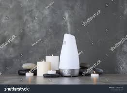 Aroma Space Design Composition Aroma Humidifier On Table Against Stock Photo