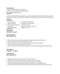 Sample Of Bank Teller Resume Bank Resume Format Bankers Resume