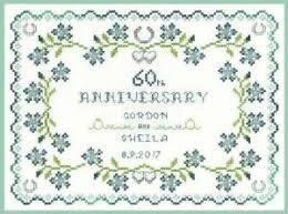 Wedding Anniversary Color Chart Details About Diamond Wedding Anniversary Sampler Cross Stitch Kit On 14 Aida Colour Chart