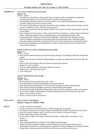 Portfolio Manager Resume Sample Client Portfolio Manager Resume Samples Velvet Jobs 2