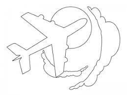 ぬりえ素材飛行機乗り物と空 イラスト無料かわいいテンプレート