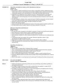 Training Technician Resume Samples Velvet Jobs