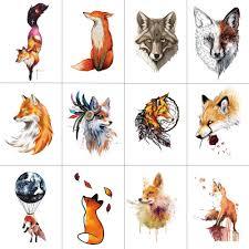 Wyuen 12 штлот лиса временные татуировки стикеры для для женщин