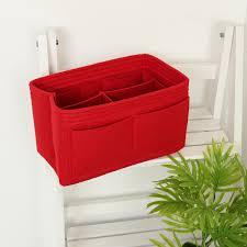 felt insert handbag tote purse organizer cosmetic red