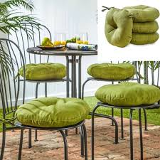 garden chair cushion outdoor round seat pillow pad deck yard patio sun set of 4