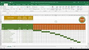 How To Create A Gantt Chart In Excel 2017 Tech 005 Create A Quick And Simple Time Line Gantt Chart In Excel