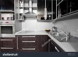 Small Modern Kitchen Small Modern Kitchen Black Wenge Colors Stock Photo 75779575