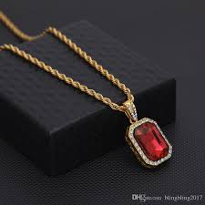mens mini ruby pendant necklace gold hip hop cuban link chain fashion necklaces jewelry for women
