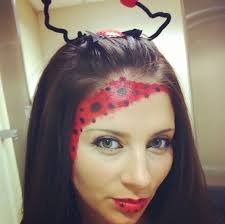this is me i came up with this cute lady bug makeup