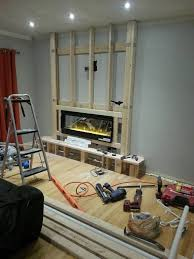 the electric fireplace was installed