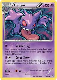 Gengar has two red eyes and a toothy, sinister smile. M Gengar Ex Xy Phantom Forces Tcg Card Database Pokemon Com