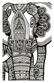 a magnificien elephant drawn with zentangle patterns