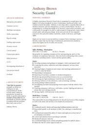 Security Guard Resume Objective Security Officers R Security Guard Resume Sample Great Resume 87