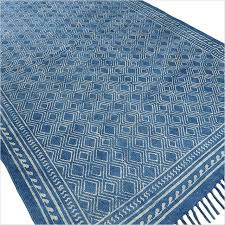 indigo blue cotton block print area accent dhurrie rug hand woven flat weave 3 x 5 4 x 6 ft