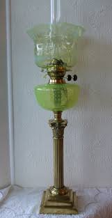antique english victorian vaseline glass oil lamp 1 of 5