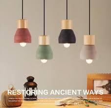 loft industrial light cement wood art pendant light fixture ceiling light fixture chandelier drop ceiling light fixtures pendant lights from