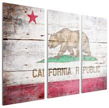 vintage california flag canvas triptych