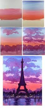 Eiffel Sunset - Easy Brushes - Big flat, Round medium , round small Color :