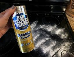 remove burned on glass cooktop stains with bar keepers friend