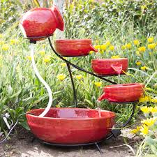 best choice s ceramic solar water fountain garden zen free standing weather proof red 0
