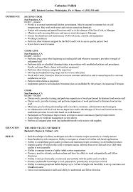 Cook Resume Samples Velvet Jobs