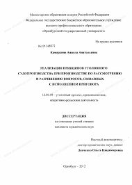 Диссертация на тему Реализация принципов уголовного  Диссертация и автореферат на тему Реализация принципов уголовного судопроизводства при производстве по рассмотрению и разрешению