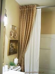 curtains inspiring brown and white long vintage fabric shower curtain ideas tied in part ideas