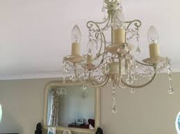 laura ashley chella cream glass droplets 5 arm light fitting chandelier 2 of 2