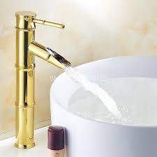 polished gold color brass bamboo style single handle lever bathroom vessel sink basin faucet mixer waterfall
