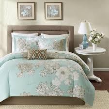 teal and brown fl bedding set