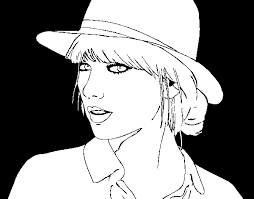 Taylor Swift With Hat Coloring Page Coloringcrew Com