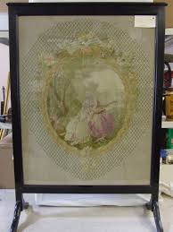 antique english victorian needlepoint fire screen